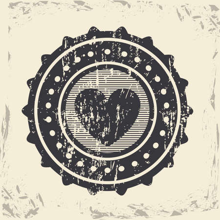 hearth seal over vintage background illustration  Vector