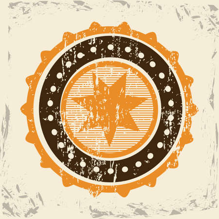 star seal over vintage background illustration Vector