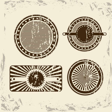 vintage seals over white background illustration  Vector