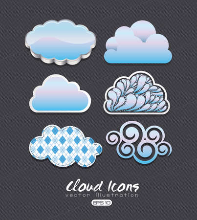 humidity: cloud icons over black background illustration  Illustration