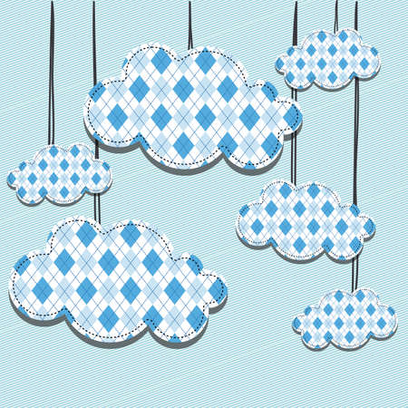 cloud design over lines background illustration  Vector