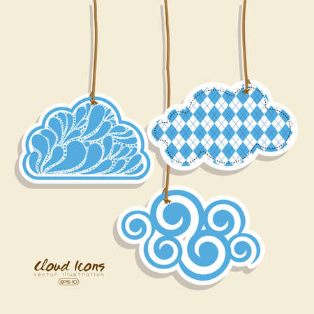 clouds icon over pink background illustration   Vector