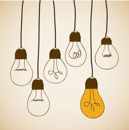 bulbs design over vintage background Illustration
