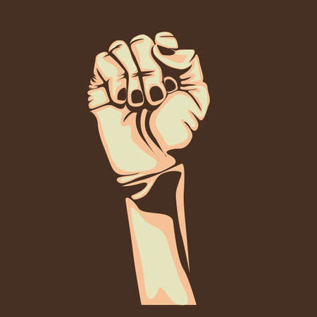 nonverbal: fist design over brown background Illustration