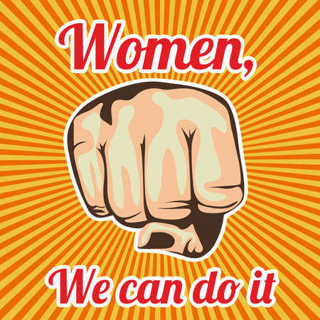 women we can do it over grunge background Vector