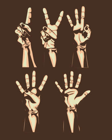 hands counting over brown background Vector