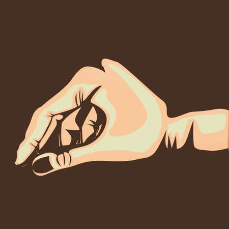 nonverbal: hand design over brown background