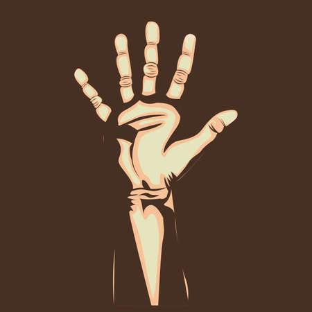 five  hand over brown background vector illustration