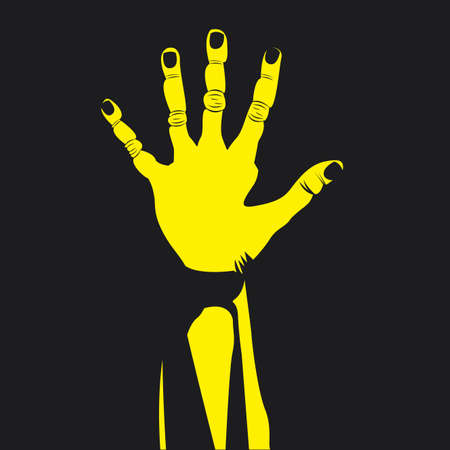 nonverbal: five hand over black background