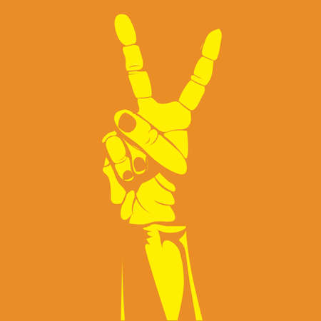nonverbal: victory hand over orange background Illustration