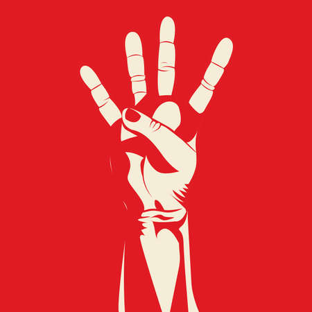 nonverbal: four hand over red background vector illustration