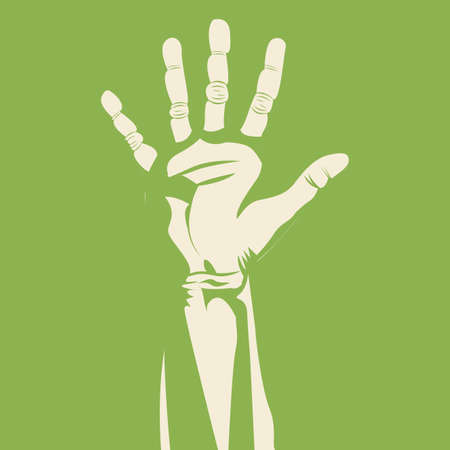 nonverbal: five  hand over green background vector illustration