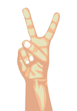 nonverbal: victory hand over brown background