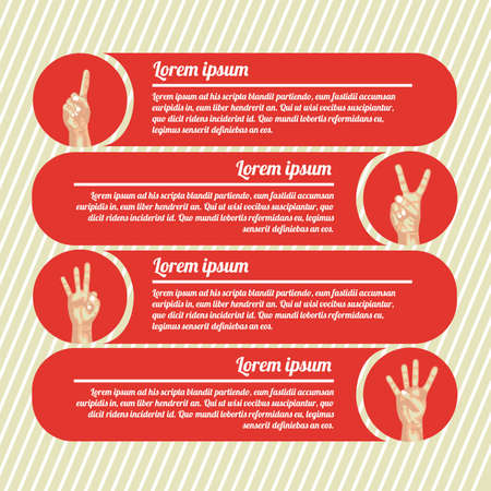 nonverbal: hands counting infographics over red background