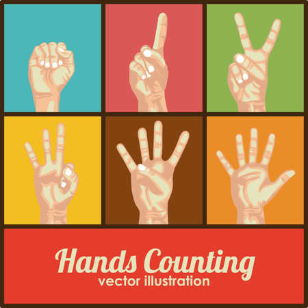 nonverbal: hands counting over colorful background Illustration