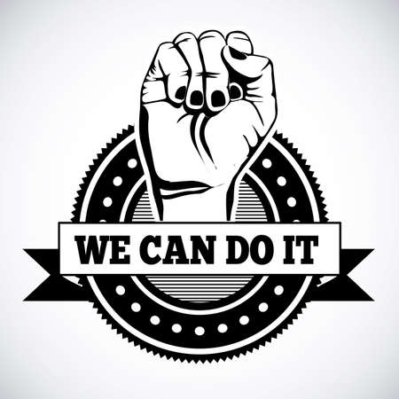 can we help: we can do it seal over white background Illustration