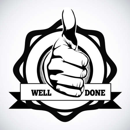 well done seal over gray background Vector