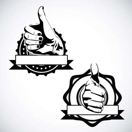 well done seals over gray background Vector