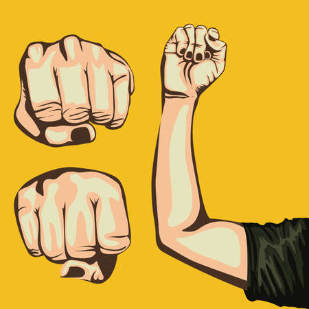 fist design over yellow background Vector