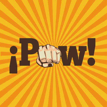 closed fist sign: pow comics over grunge background Illustration