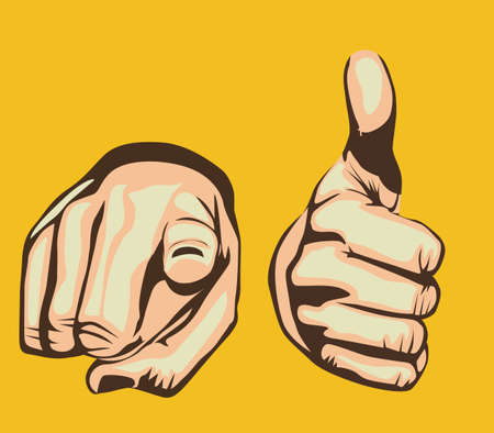 ok sign language: hands design over yellow background
