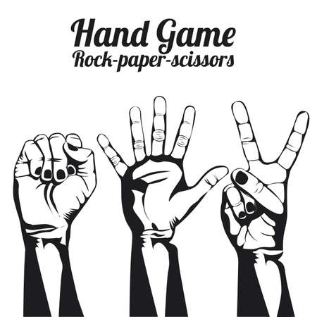 nonverbal communication: hand game over white background
