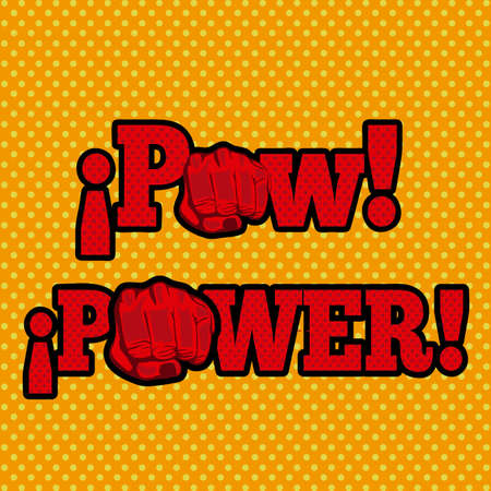 pow: pow and power over doted background Illustration