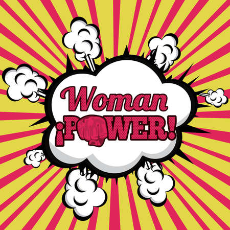 woman power comics over grunge background Vector