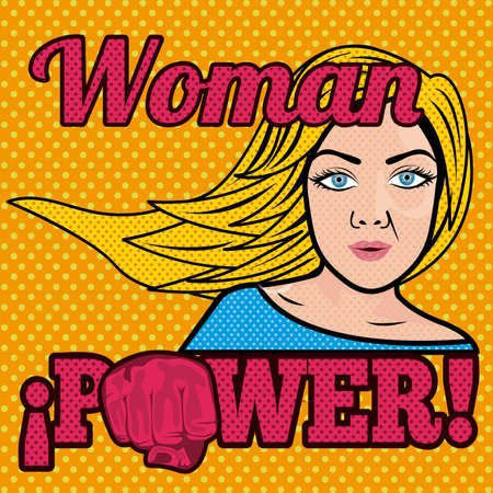 closed fist sign: woman power comics over grunge background illustration