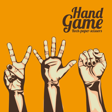 hand game over orange background Ilustração