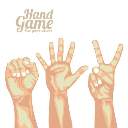 paper spell: hand game over white  background