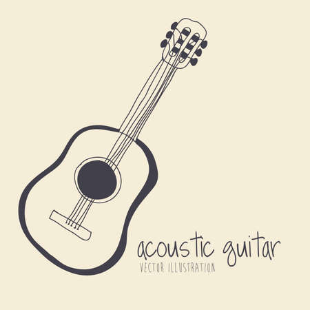 acoustic guitar over yellow background Vector