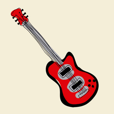 electric  guitar over pink background