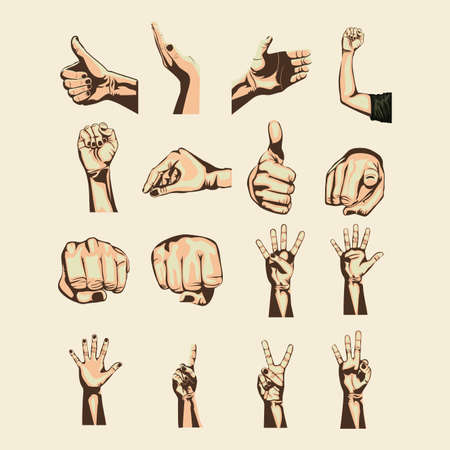 hands symbols over pink background Vector