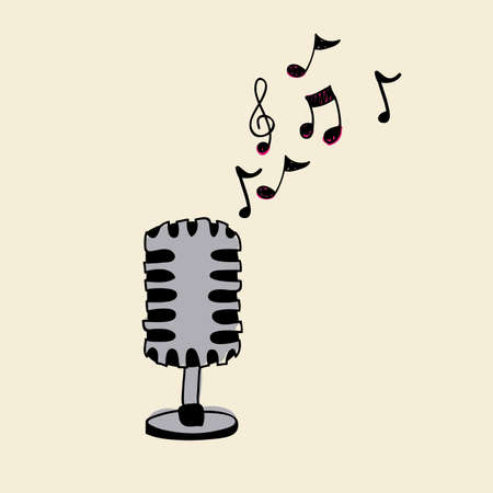 microphones design over beige background Vector