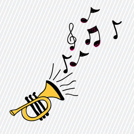 trumpet design over white background Vector