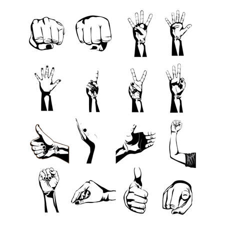 hands symbols over white background Vector