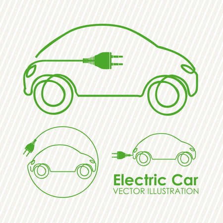 ecologically: electric car design over lineal background