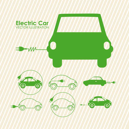 sustainable resources: electric car design over lineal background