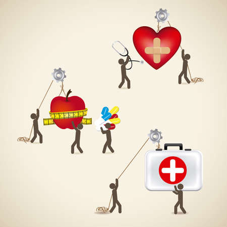 health icons over beige background Vector