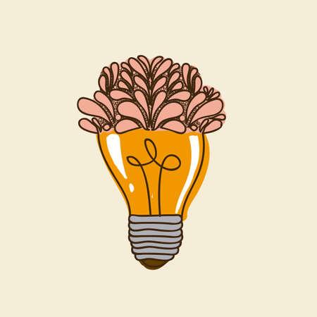 bulb floral design over pink background Vector