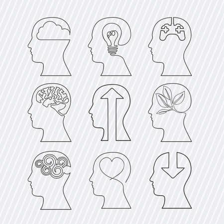 man face profile: brains design over white background