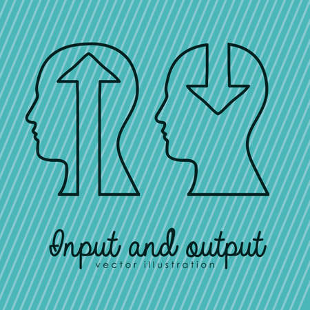 input output: input and output over blue background Illustration