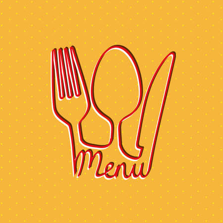 menu design over orange background Vector