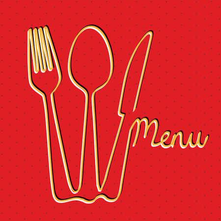 menu design over red background Vector
