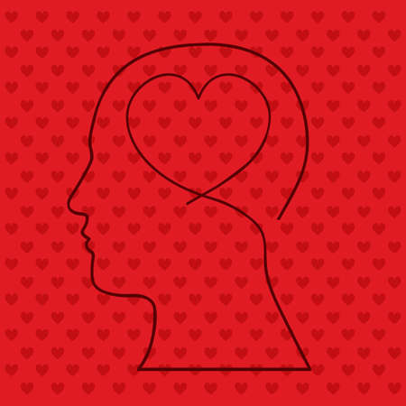brain heart over red background