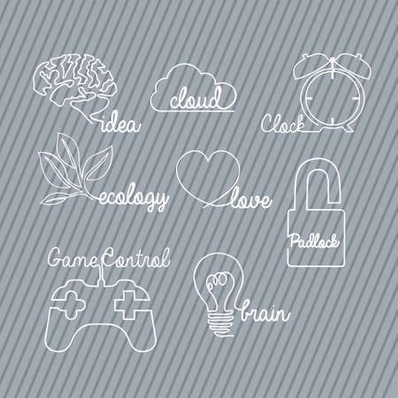 line drawing: sign types over gray background Illustration