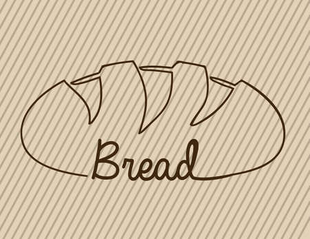 crusty: bread icon over beige background Illustration