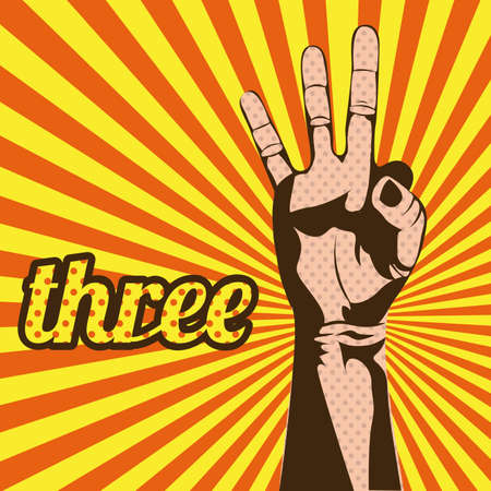 three number over grunge background Vector