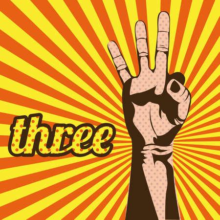 three number over grunge background Illustration